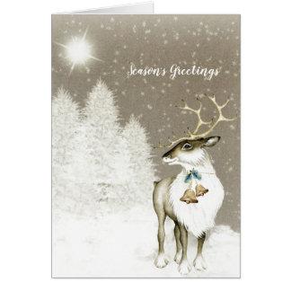 Adorable Rustic Reindeer in Winter Card