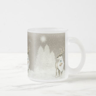 Adorable Rustic Reindeer in Winter Frosted Glass Coffee Mug