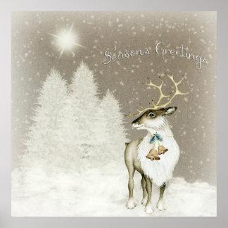 Adorable Rustic Reindeer in Winter Poster