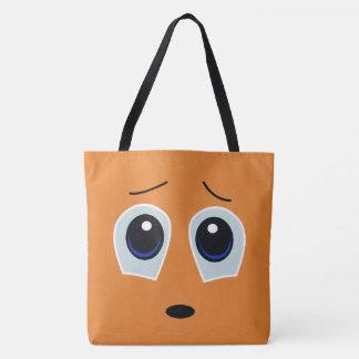 Adorable Sad Face Design Tote Bag