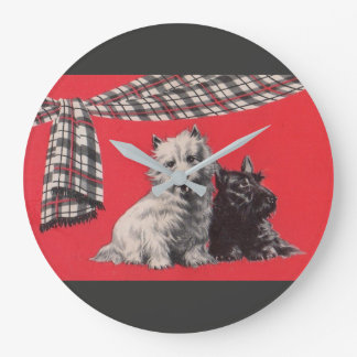 adorable Scottish terriers Large Clock