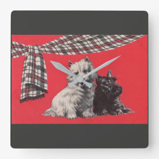 adorable Scottish terriers Square Wall Clock