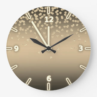 Adorable  Shiny Foil  Confetty Or Diamond Large Clock