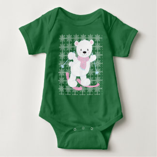 Adorable Skiing Polar Bear Baby Bodysuit