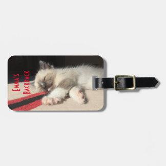 Adorable Sleeping Kitten Photograph Bag Tag
