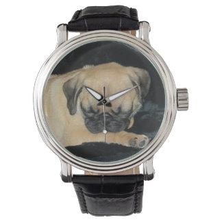 Adorable Sleeping Pug Puppy Wrist Watch