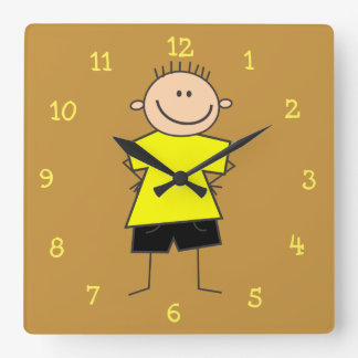 Adorable Smiley Boy Stick Figure Wall Clock