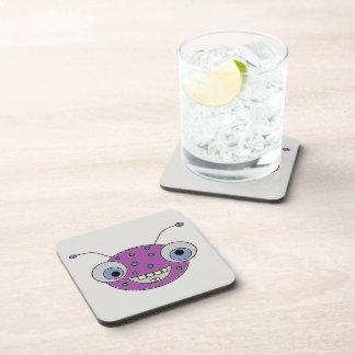 Adorable Smiley Purple Alien Head Design Coaster