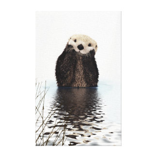 Adorable Smiling Otter in Lake Canvas Print