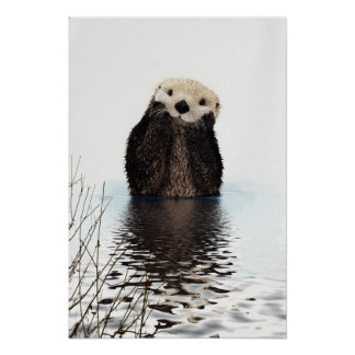 Adorable Smiling Otter in Lake Poster