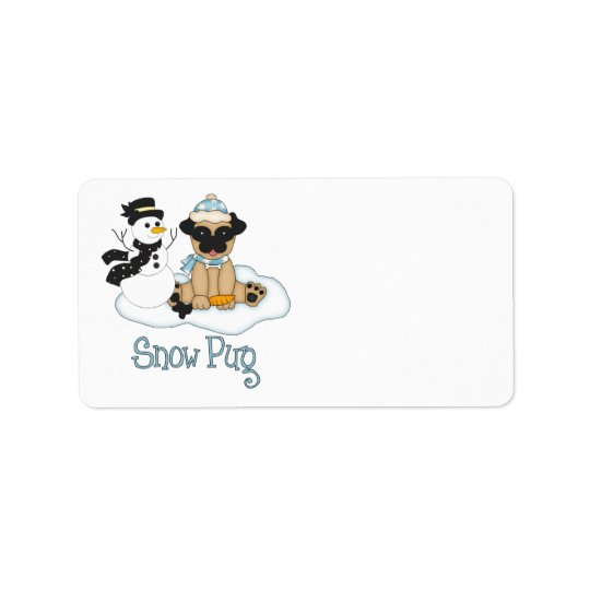 Adorable Snow Pug - Pug and Snwoman Label