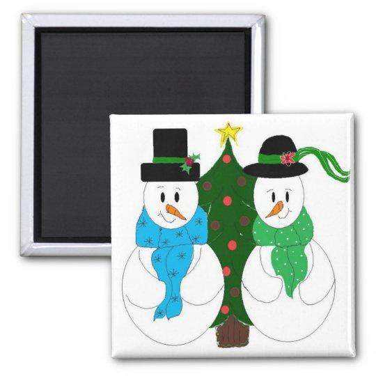 Adorable Snowman Couple Magnet