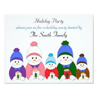 "Adorable Snowman Family Holiday Party 4.25"" X 5.5"" Invitation Card"