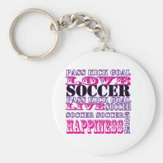 Adorable Soccer Design for Girls Pass Kick Goal Basic Round Button Key Ring