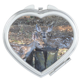 Adorable Spotted Fawns Heart Compact Mirror
