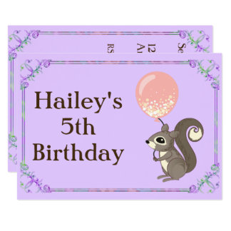 Adorable Squirrel Birthday Invite