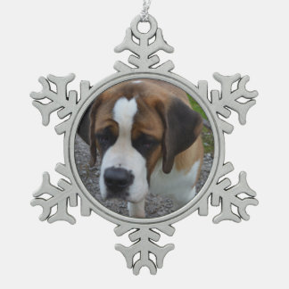 Adorable St Bernard Pewter Snowflake Decoration