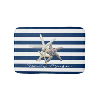 Adorable Starfish ,Navy Blue Stripes-Personalized Bath Mat