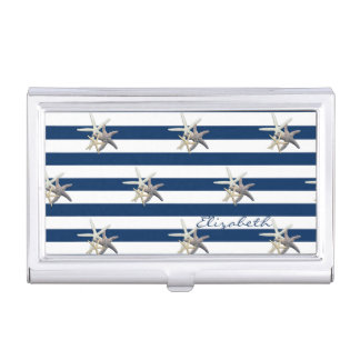 Adorable Starfish ,Navy Blue Stripes-Personalized Business Card Holder