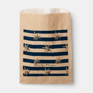 Adorable Starfish ,Navy Blue Stripes-Personalized Favour Bag