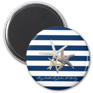 Adorable Starfish ,Navy Blue Stripes-Personalized Magnet