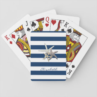 Adorable Starfish ,Navy Blue Stripes-Personalized Playing Cards