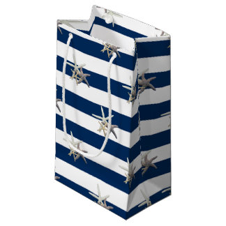 Adorable Starfish ,Navy Blue Stripes-Personalized Small Gift Bag
