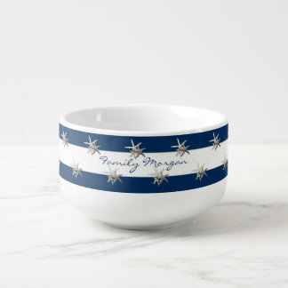 Adorable Starfish ,Navy Blue Stripes-Personalized Soup Mug