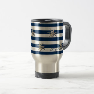Adorable Starfish ,Navy Blue Stripes-Personalized Travel Mug