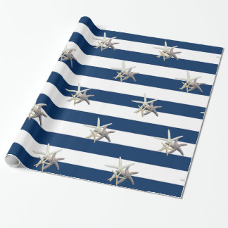 Adorable Starfish ,Navy Blue Stripes Wrapping Paper