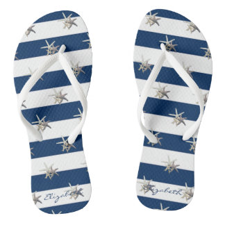 Adorable Starfish On Stripes-Personalized Thongs