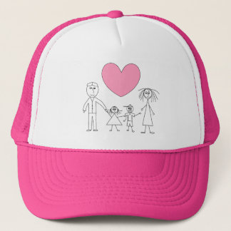 Adorable Stick Figure Family Child Drawing Pink Trucker Hat