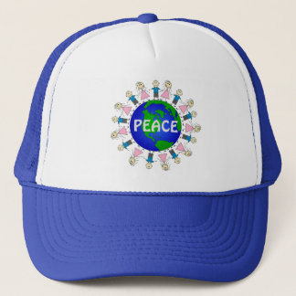 Adorable Stick Kids World PEACE Design Trucker Hat