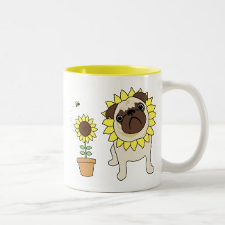 Adorable Sunflower Pug Mugs - Text optional