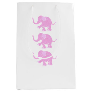 Adorable Sweet Pink Baby Elephants Medium Gift Bag