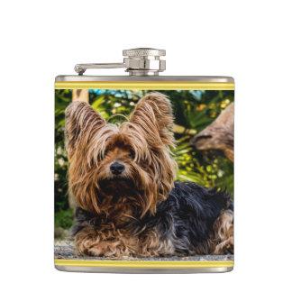 Adorable sweet Yorkshire terrier gold foil design Hip Flask