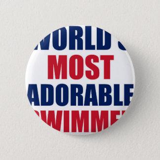 Adorable swimmer 6 cm round badge