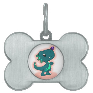 Adorable Teal T-Rex Pet ID Tag