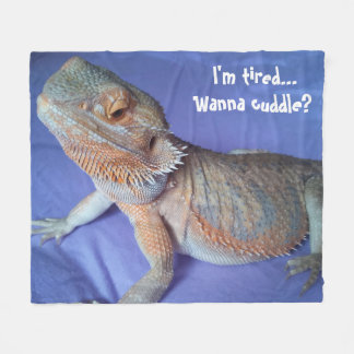 Adorable Tired Bearded Dragon Picture Blue Fleece Blanket