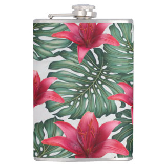 Adorable Tropical Palm Hawaiian Hibiskus Hip Flask