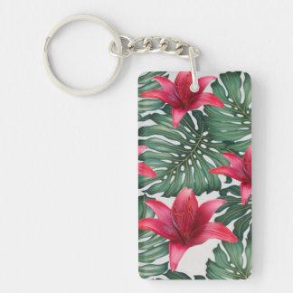 Adorable Tropical Palm Hawaiian Hibiskus Key Ring