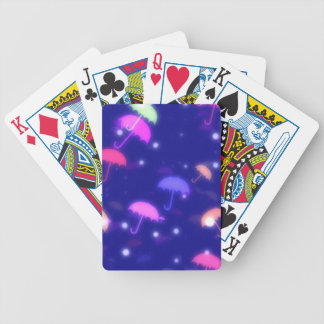 Adorable Umbrella Galaxy Print - Neon Colors Bicycle Playing Cards