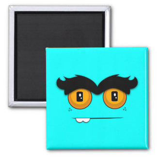 Adorable Unibrow Monster With an Overbite (Aqua) Square Magnet