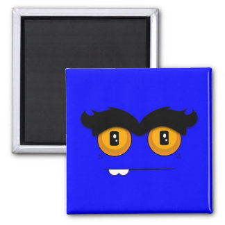 Adorable Unibrow Monster With an Overbite (Blue) Square Magnet