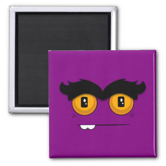Adorable Unibrow Monster With an Overbite (Purple) Square Magnet