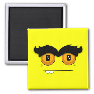 Adorable Unibrow Monster With an Overbite- Yellow Magnets