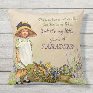 Adorable Victorian Little Girl Gardener Hat Spring Outdoor Cushion