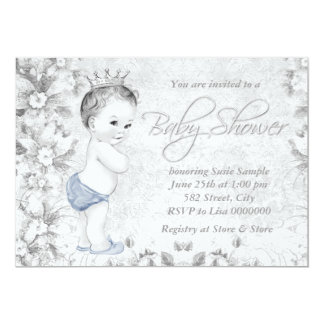 Adorable Vintage Boys Blue and Gray Baby Shower 13 Cm X 18 Cm Invitation Card