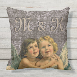 Adorable Vintage Cherubs Angel Pair Victorian Wing Outdoor Cushion