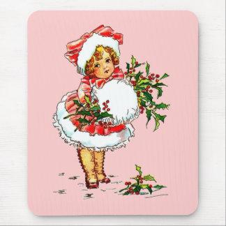 Adorable Vintage Christmas Child Mouse Pad